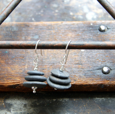 Gray River Stone Cairn Earrings