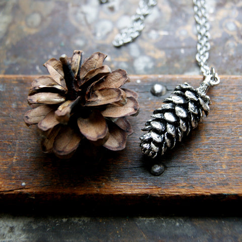 Silver Pine Cone Necklace by Wear Your Wild