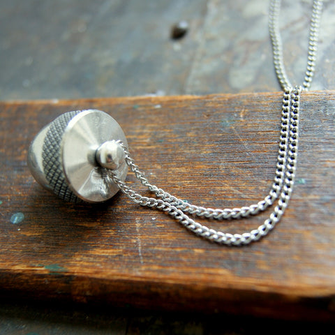 Silver Acorn Canister Locket Necklace