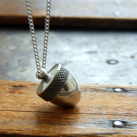 Silver Acorn Canister Locket Necklace by Wear Your Wild