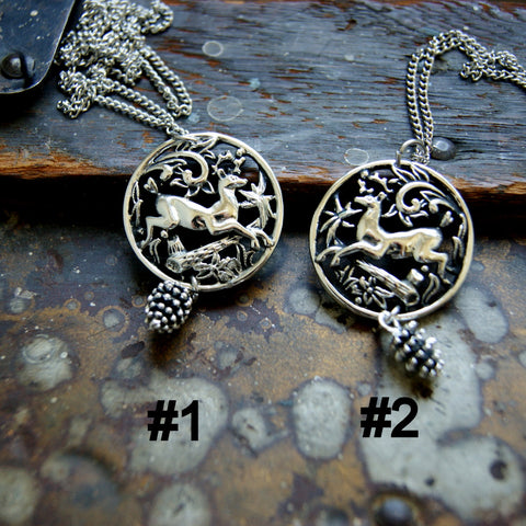 Deer Pendant Necklace with Forest Scene