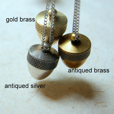 Acorn Canister Locket Necklace - Choose Color at Checkout