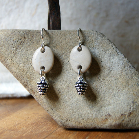 Pine Cone and Beach Stone Earrings