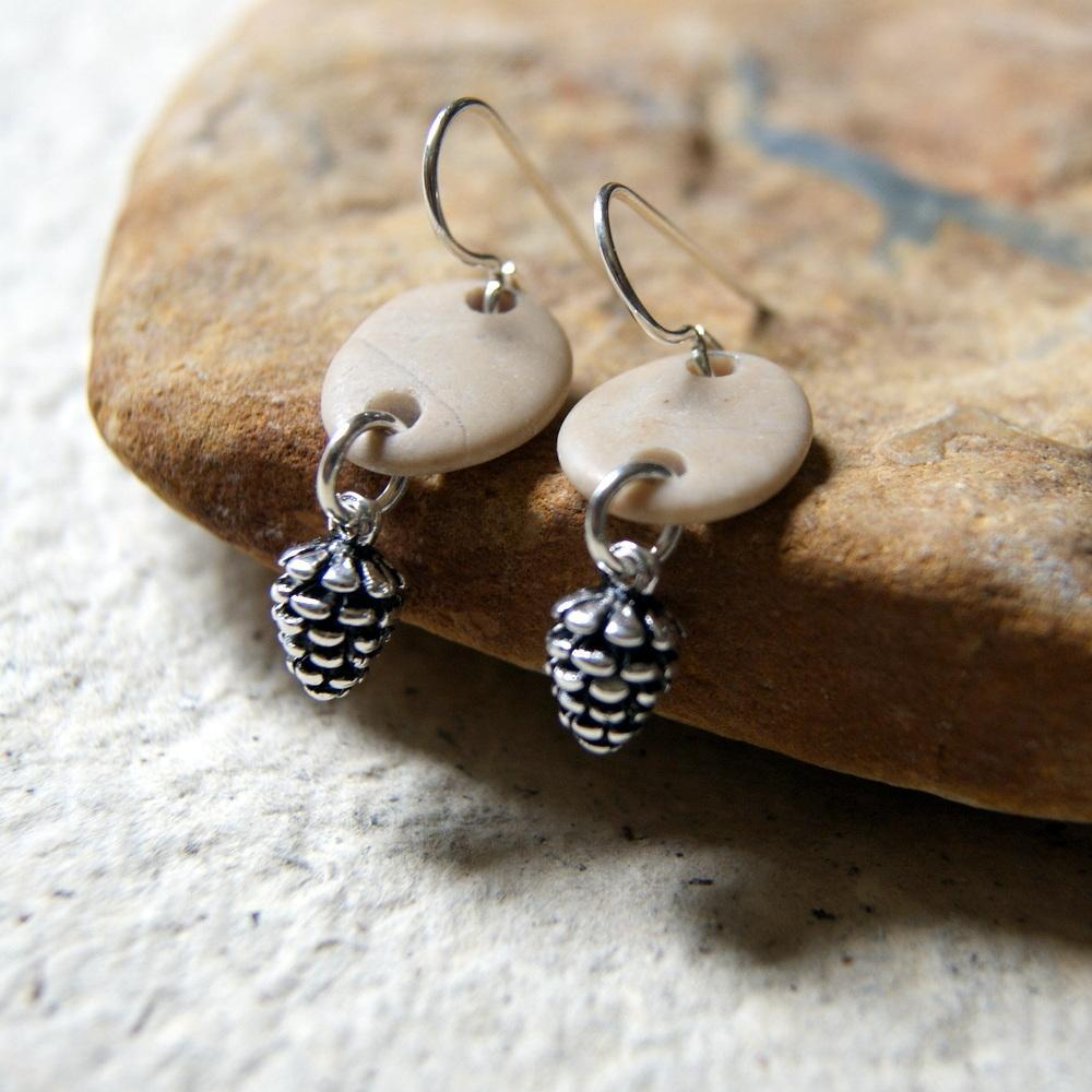 Pine Cone and Beach Stone Earrings by Wear Your Wild