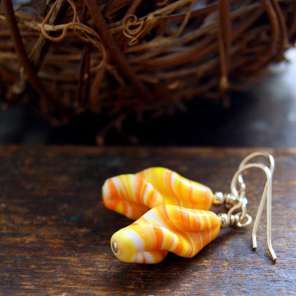 Vintage Japanese Glass Bead Earrings - Candy Corn by Wear Your Wild