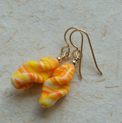 Vintage Japanese Glass Bead Earrings - Candy Corn
