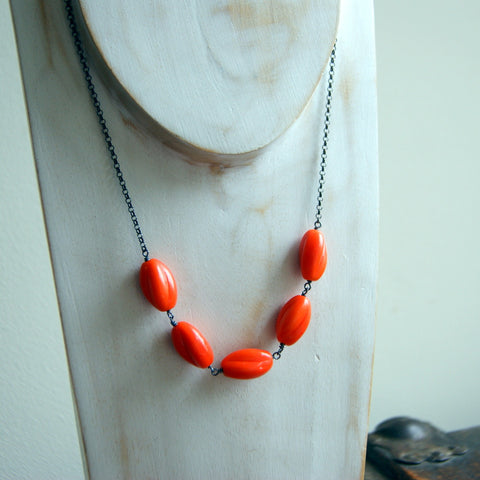 Vintage Orange Glass Bead Necklace Wire-Wrapped with Oxidized Sterling Silver Wire