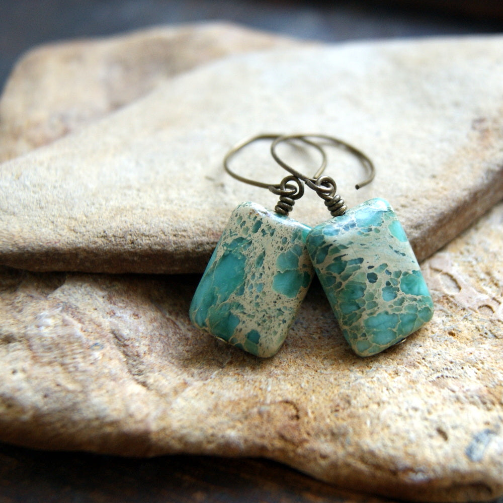 Aqua Terra Jasper Earrings with Antiqued Brass Earwires by Wear Your Wild
