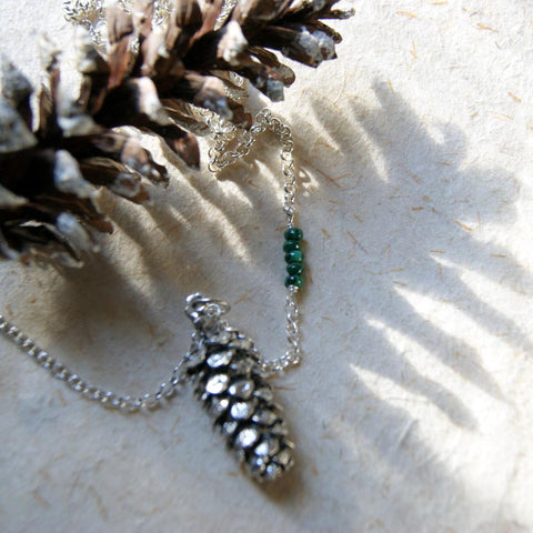 Large Antiqued Silver Pine Cone Necklace with Malachite Beads