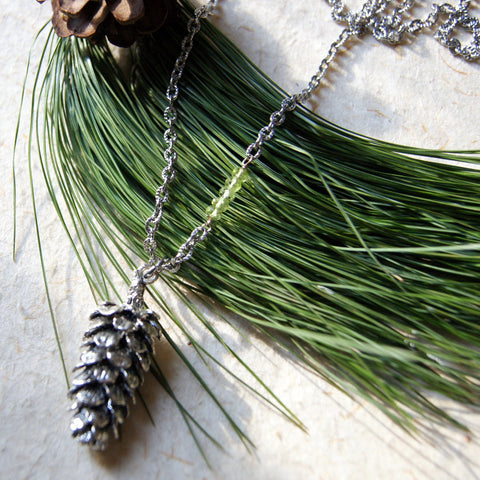 Large Antiqued Silver Pine Cone Necklace with Peridot Beads