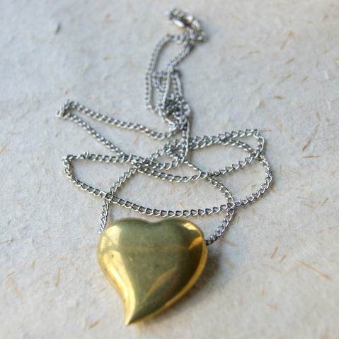 Vintage Brass Heart Pendant Necklace with Vintage Stainless Steel Chain