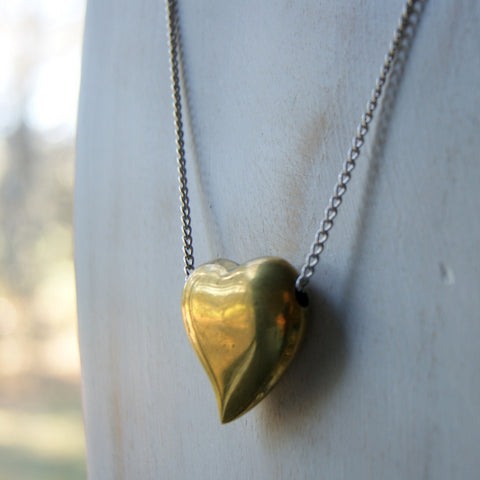 Vintage Brass Heart Pendant Necklace with Vintage Stainless Steel Chain by Wear Your Wild