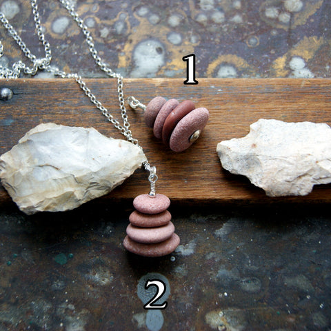 Pink Granite Beach Stone Cairn Necklace with Sterling Silver Rolo Chain by Wear Your Wild