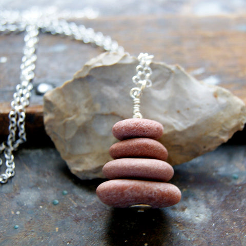 Pink Granite Beach Stone Cairn Necklace with Sterling Silver Rolo Chain