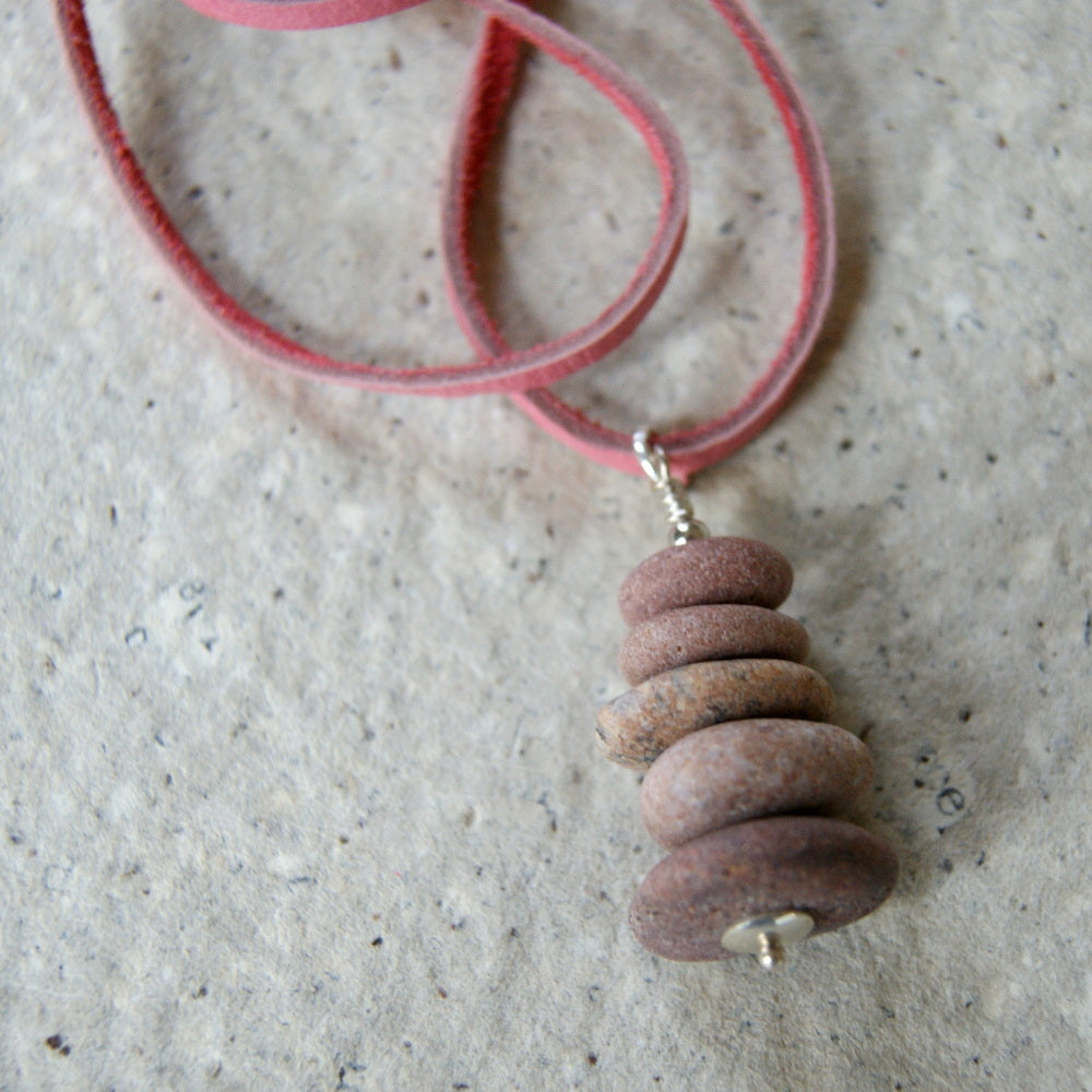 Pink Stone Cairn Necklace with Silver Plated Rolo Chain or Pink Deerskin Lace by Wear Your Wild