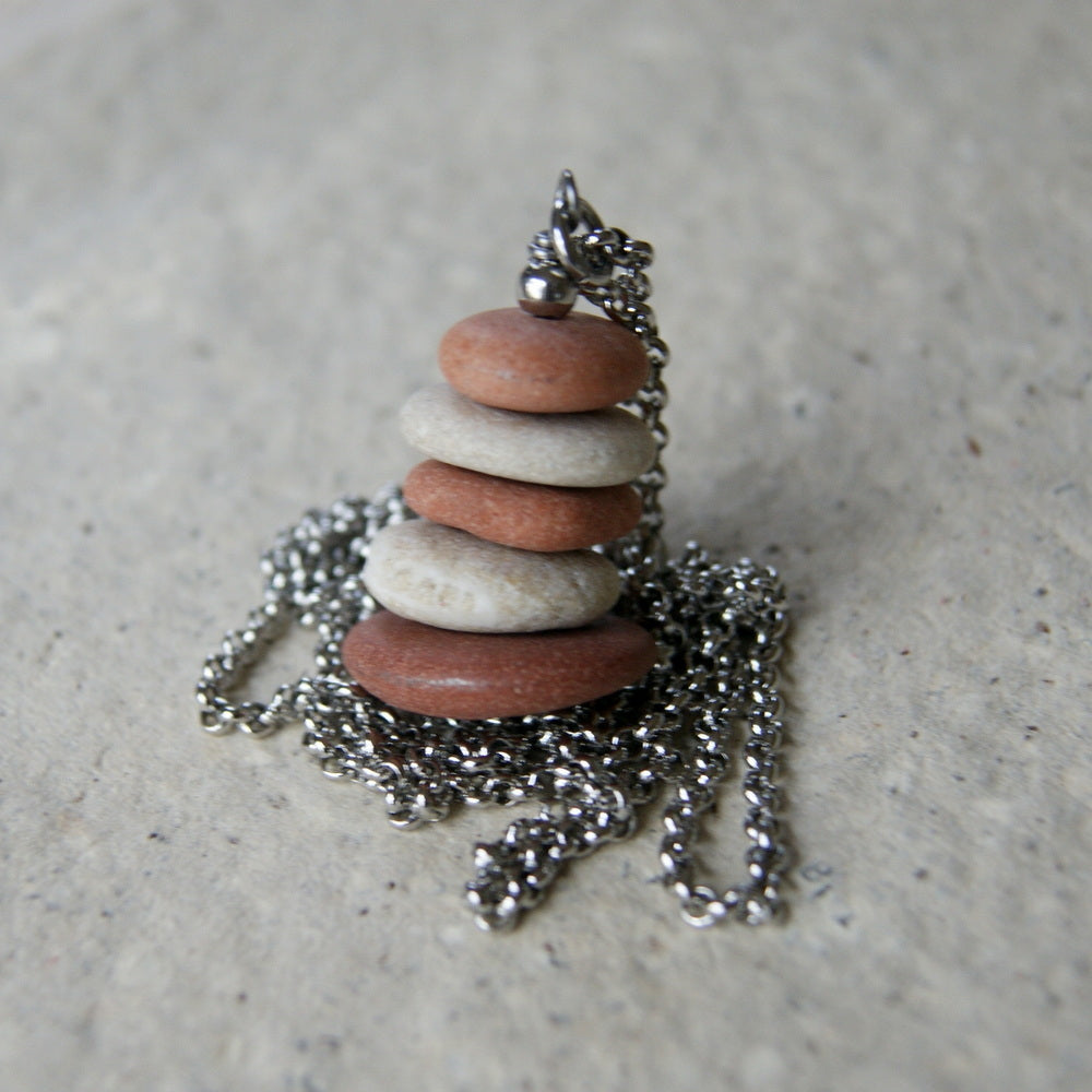 Pink Granite and Beige Beach Stone Cairn Pendant Necklace with Stainless Steel Rolo Chain by Wear Your Wild