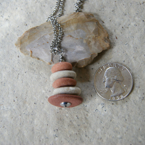 Pink Granite and Beige Beach Stone Cairn Pendant Necklace with Stainless Steel Rolo Chain