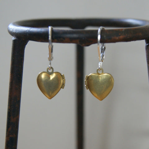 Tiny Vintage Brass Heart Locket Earrings with Leverback Earwires - Choose Earwire Finish at Checkout