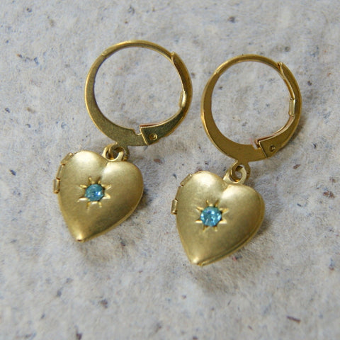 Vintage Brass Heart Sunburst Locket Earrings with Aquamarine Glass Rhinestones