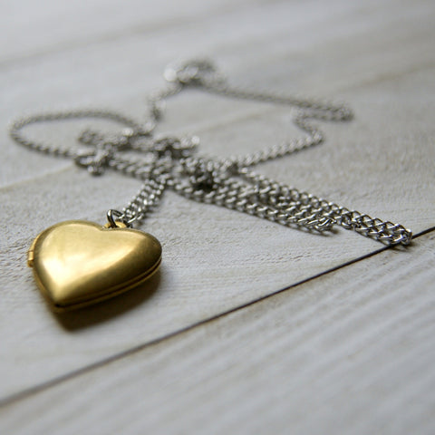 Vintage Brass Heart Locket Necklace with Vintage Stainless Steel Chain