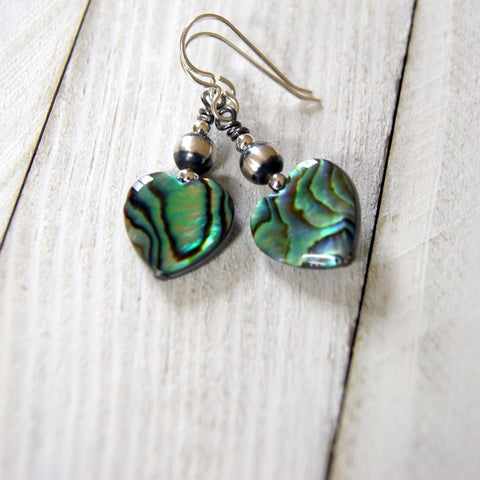 Paua Shell Heart Earrings with Sterling Silver Navajo Pearls by Wear Your Wild