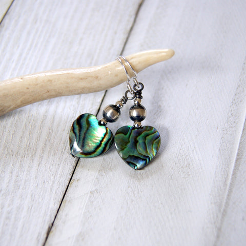 Paua Shell Heart Earrings with Sterling Silver Navajo Pearls