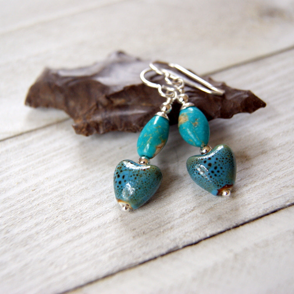 Kingman Turquoise and Speckled Porcelain Heart Earrings with Sterling Silver Earwires by Wear Your Wild