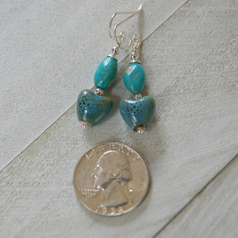 Kingman Turquoise and Speckled Porcelain Heart Earrings with Sterling Silver Earwires