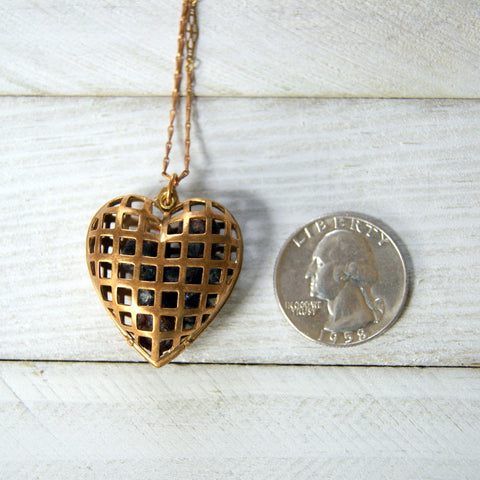 Vintage Brass Cage Heart Locket Necklace Filled with Raw Garnets