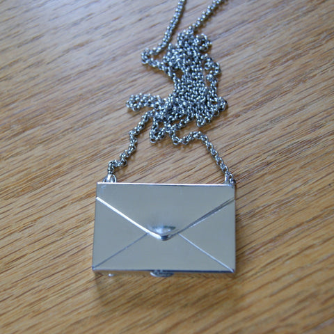 Vintage Silver Tone Envelope Locket Necklace