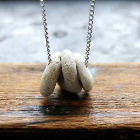Hag Stone Necklace with a Trio of Stones and Vintage Stainless Steel Chain