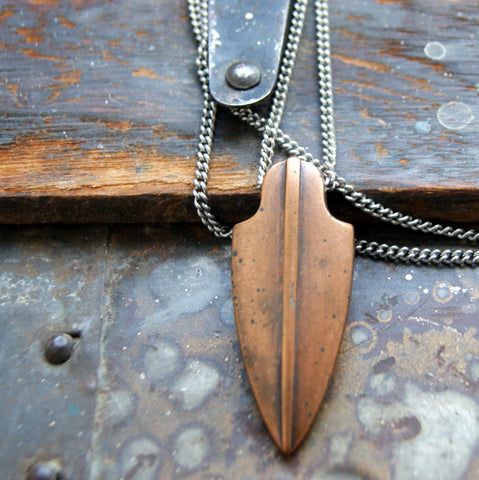 Vintage Antiqued Copper Arrowhead Necklace with Vintage Stainless Steel Chain by Wear Your Wild