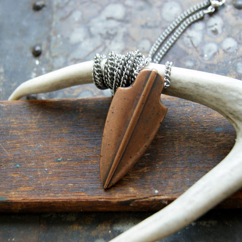 Vintage Antiqued Copper Arrowhead Necklace with Vintage Stainless Steel Chain