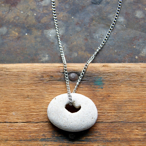 Hag Stone Pendant Necklace with Vintage Stainless Steel Chain