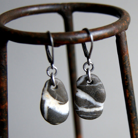 Black and White Striped Beach Stone Earrings with Oxidized Sterling Silver Earwires