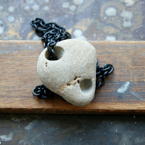 Large Hag Stone Necklace with Chunky Vintage Black Chain - Choose Stone at Checkout