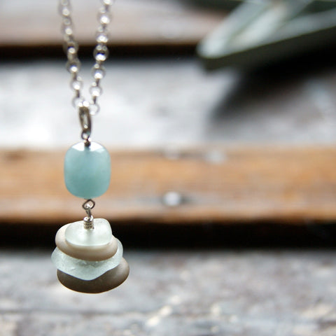 Aquamarine Cairn with Beach Stones and Light Aqua Blue Sea Glass