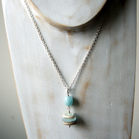 Aquamarine Cairn with Beach Stones and Light Aqua Blue Sea Glass by Wear Your Wild