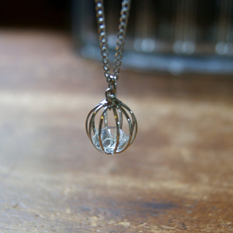 Herkimer Diamond Necklace with Vintage Stainless Steel Chain