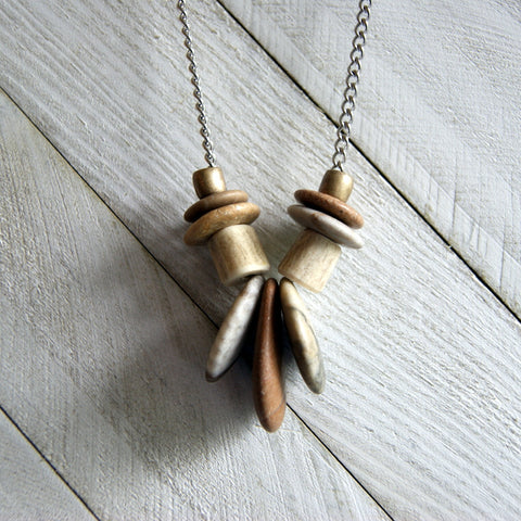 Beach Stone and Deer Antler Bead Necklace with Vintage Stainless Steel Chain by Wear Your Wild