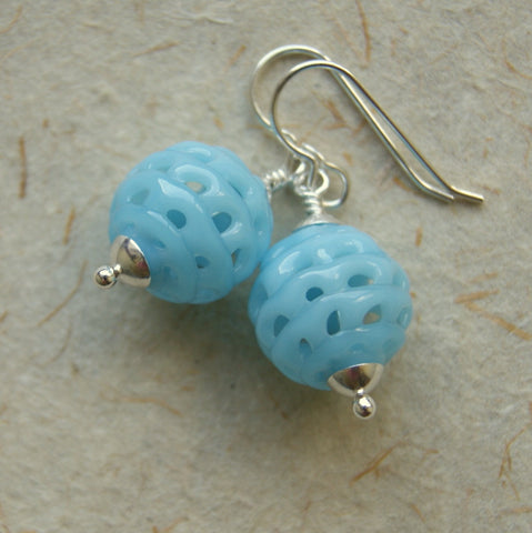 Baby Blue Vintage Glass Spiderweb Bead Earrings