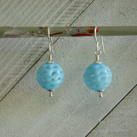 Baby Blue Vintage Glass Spiderweb Bead Earrings by Wear Your Wild