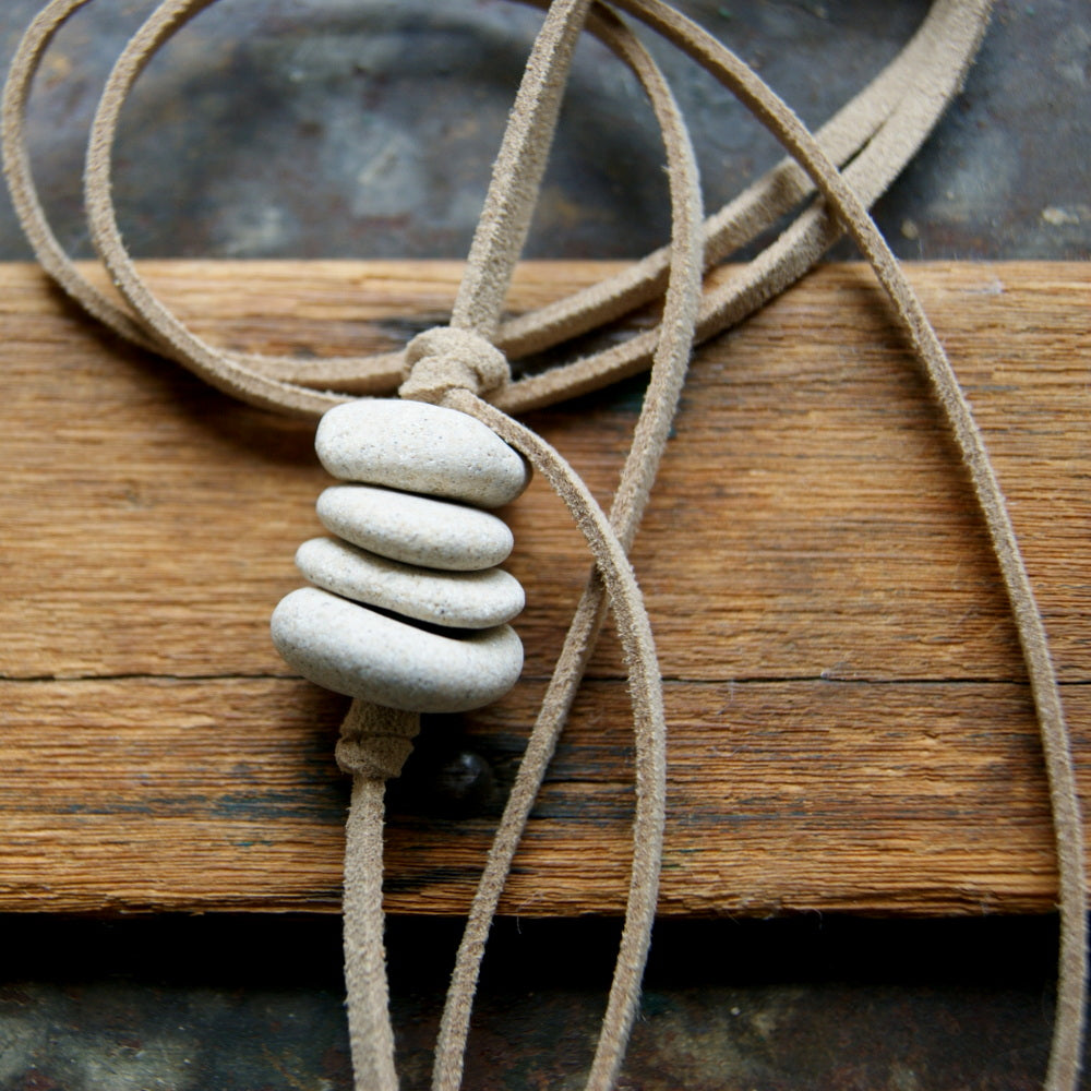 Hag Stone Cairn Necklace with Faux Vegan Leather Cord by Wear Your Wild