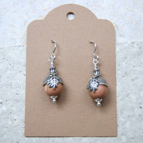 Rustic Acorn Earrings with Rosewood Beads, Antiqued Silver Bead Caps and Sterling Silver Earwires