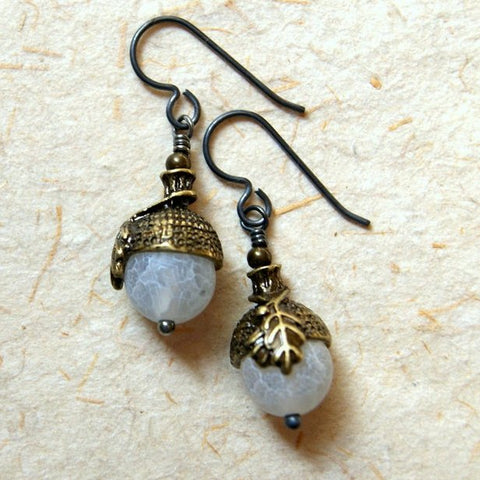 Acorn Earrings with Frosted White Agate Beads and Antiqued Brass Bead Caps