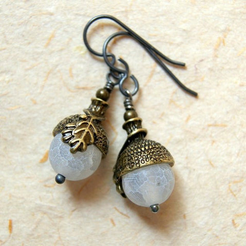 Acorn earrings made with white agate beads and antiqued brass acorn bead caps by Wear Your Wild