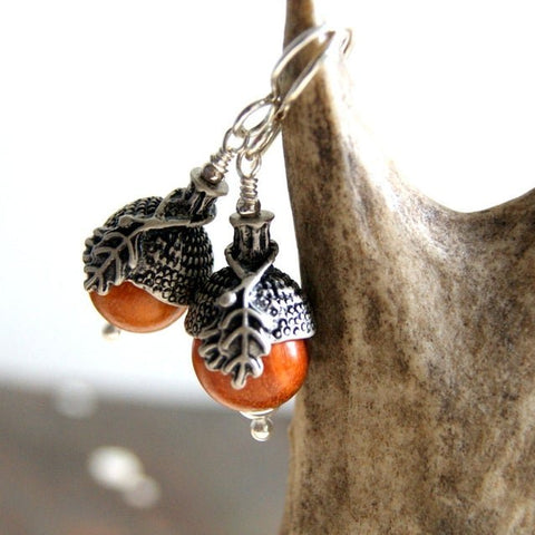 Acorn Earrings with Redwood Beads, Antiqued Silver Bead Caps and Sterling Silver Earwires