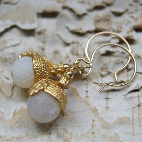 Acorn Earrings with Frosted White Agate Beads and Gold Plated Bead Caps