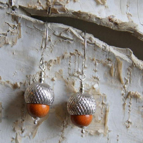 Acorn Earrings with Redwood Beads and Silver Acorn Bead Caps