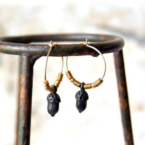 Rustic Acorn Hoop Earrings